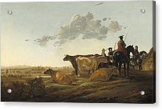 Landscape With Herdsmen Acrylic Print by Aelbert Cuyp