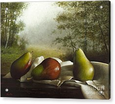 Landscape With Pears Acrylic Print by Larry Preston