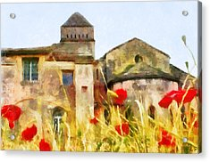 Landscape With Poppies Acrylic Print by Sergey Lukashin