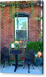 Lanier Winery Bistro Table Acrylic Print by Amy Lucid