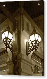 Lanterns - Night In The City - In Sepia Acrylic Print by Ben and Raisa Gertsberg