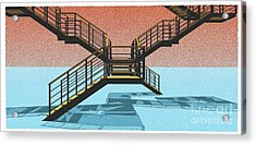 Large Stair 38 On Cyan And Strange Red Background Abstract Arhitecture Acrylic Print by Pablo Franchi