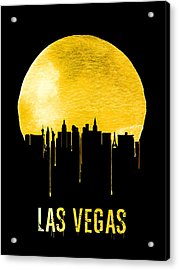 Las Vegas Skyline Yellow Acrylic Print by Naxart Studio
