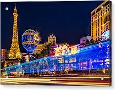 Las Vegas Strip Light Show Acrylic Print by Susan Candelario
