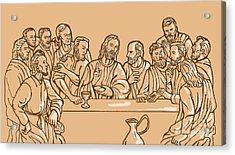 last supper of Jesus Christ Acrylic Print by Aloysius Patrimonio