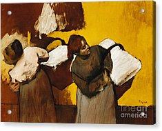 Laundresses Acrylic Print by Edgar Degas