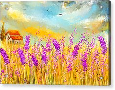 Lavender Memories - Lavender Field Art Acrylic Print by Lourry Legarde