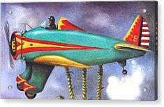 Lazy Bird Plane Detail Acrylic Print by Leah Saulnier The Painting Maniac