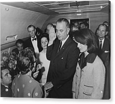 Lbj Taking The Oath On Air Force One Acrylic Print by War Is Hell Store