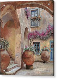 Le Arcate In Cortile Acrylic Print by Guido Borelli