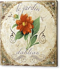 Le Jardin Dahlias Acrylic Print by Mindy Sommers