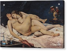 Le Sommeil Acrylic Print by Gustave Courbet