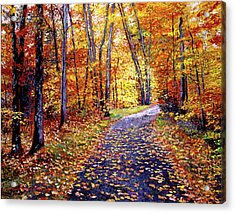 Leaf Covered Road Acrylic Print by David Lloyd Glover