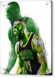 Lebron James Green Rage Hulk Cleveland Cavs Digital Painting Acrylic Print by David Haskett