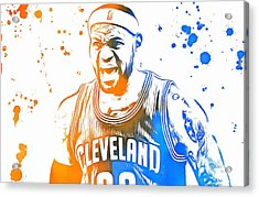 Lebron James Paint Splatter Acrylic Print by Dan Sproul