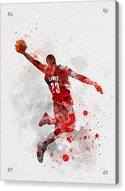 Lebron James Acrylic Print by Rebecca Jenkins