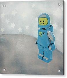Lego Man On The Moon Acrylic Print by Wall Kandi