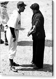 Leo Durocher Argues With An Umpire Acrylic Print by Everett