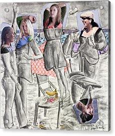 Les Demoiselles Of Santa Cruz V8 Acrylic Print by Susan Cafarelli Burke
