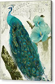 Les Paons Acrylic Print by Mindy Sommers