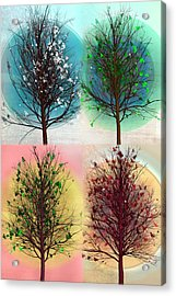 Les Quatre Saisons In Vertical Acrylic Print by Debra and Dave Vanderlaan