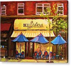 Lesters Cafe Acrylic Print by Carole Spandau