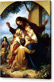 Let The Children Come To Me Acrylic Print by Carl Vogel von Vogelstein