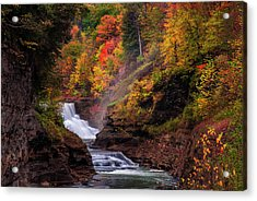 Letchworth Lower Falls 2 Acrylic Print by Mark Papke