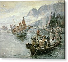 Lewis And Clark On The Lower Columbia River Acrylic Print by Charles Marion Russell
