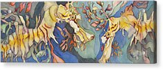 L'hippocampe Jaune Acrylic Print by Liduine Bekman