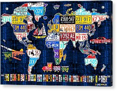 License Plate Map Of The World Travel Recycled Vintage Art With Augustine Quote Acrylic Print by Design Turnpike