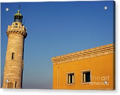 Lighthouse And Yellow Building At The Entrance Of The Port Of Marseille Acrylic Print by Sami Sarkis
