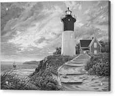 Lighthouse At Sunset - Black And White Acrylic Print by Lucie Bilodeau