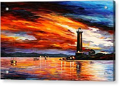 Lighthouse Acrylic Print by Leonid Afremov