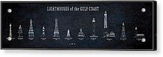 Lighthouses Of The Gulf Coast Blueprint Acrylic Print by Daniel Hagerman