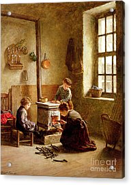 Lighting The Stove Acrylic Print by Pierre Edouard Frere