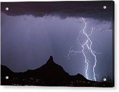 Lightnin At Pinnacle Peak Scottsdale Arizona Acrylic Print by James BO  Insogna
