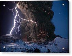 Lightning Pierces The Erupting Acrylic Print by Sigurdur H. Stefnisson