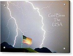 Lightning Strikes God Bless The Usa Acrylic Print by James BO  Insogna