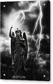 Lightning Strikes The Angel Gabriel Acrylic Print by Amanda Elwell