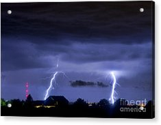 Lightning Thunderstorm July 12 2011 Two Strikes Over The City Acrylic Print by James BO  Insogna