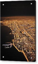 Lights Of Chicago Burn Brightly Acrylic Print by Jim Richardson