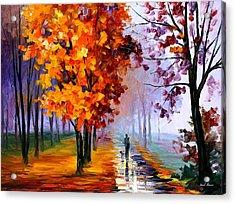 Lilac Fog Acrylic Print by Leonid Afremov