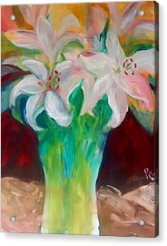 Lilies In A Vase 2 Acrylic Print by Patricia Taylor