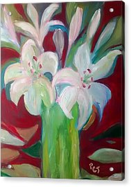 Lilies In A Vase With Red Acrylic Print by Patricia Taylor