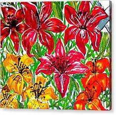 Lilies Acrylic Print by Nancy Rucker