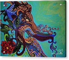 Lion Gargoyle Acrylic Print by Genevieve Esson