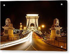 Lion Sculptures Of The Chain Bridge Acrylic Print by George Oze