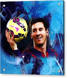 Lionel Messi 03d Acrylic Print by Gull G