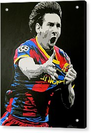 Lionel Messi Barcelona Acrylic Print by Scott Strachan